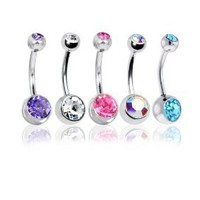 "Lot of 5 Pc Double Jeweled CZ Crystal Gem Belly Button Navel Rings 316L Surgical Steel 14 Gauge (5 Pieces)14G 3/8""(1.6mm~10mm) + 1 Free Belly Retainer:Amazon:Jewelry"