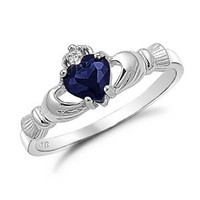Amazon.com: Sterling Silver Blue Sapphire Heart CZ Claddagh Ring Sizes 3 to 9: Jewelry