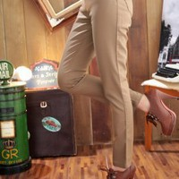 Wholesale Skinny Girls Cotton Long Pants Khaki : Wholesaleclothing4u.com