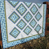 Handmade Quilt Blue Floral on Luulla