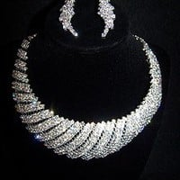 Rhinestone Shell Necklace & Earrings set Bridal Prom Club Wear Jewelry Drag