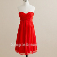 A-line Sweetheart Sleeveless Knee-length Chiffon Fashion Cheap Bridesmaid/Evening/Party/Homecoming/Prom/Cocktail Dresses 2013 With Pleated