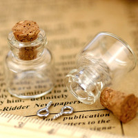 Small Tiny Clear Glass Bottles Vials Charms Pendants 16x18mm - Clear Glass Bottle with Cork and Silver Eyehook  - GB04(5pcs)