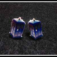 Dr Who Tardis Earrings Post earring  - Sci Fi  Jewelry