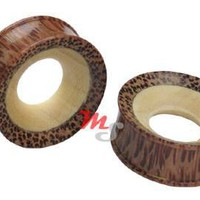Crocodile & Coconut Coconut Fused Wood Tunnel Plugs | Wholesale - Monster Steel