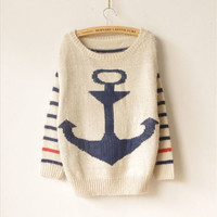 Sweat ship anchor mohair stripe batwing sweater