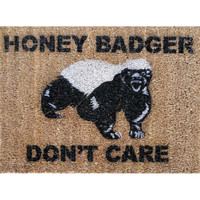 Honey Badger Don&#x27;t Care Doormat under 50 by damngooddoormats