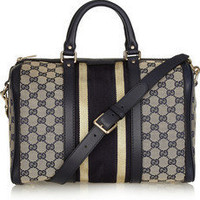Gucci|Leather-trimmed canvas bowling bag|NET-A-PORTER.COM