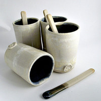 Coffe Tumblers with little spoon  - Stoneware Tumber - Ceramic Tumbler - set of 4