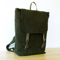 Melange Dark Khaki Wool Backpack , Unique Design of BagyBag