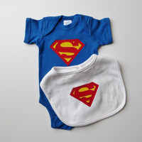 Superhero Baby Onesuit With Monogram Bib Baby Boy Gift Set For Little Superman