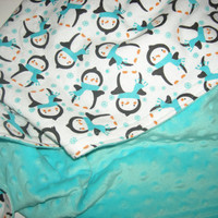 Chilly Penguins Minky Blanket - 30x30