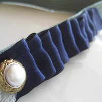 Navy Ribbon Headband Elastic Ruffle Pearl Button