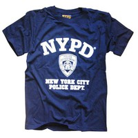 NYPD T-SHIRT, Officially Licensed Crewneck New York Police Department Athletic Tee, Navy M