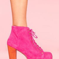 Lita Platform Boot - Fuchsia Suede in Shoes at Nasty Gal