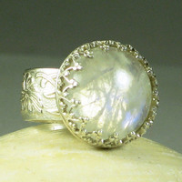 Rainbow Moonstone Ring Sterling SilverMade by TazziesCustomJewelry