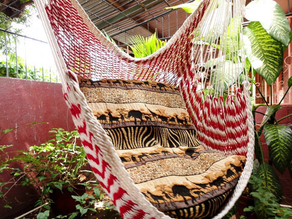 Red and White Bulico Sitting Hammock Hanging Chair by hamanica