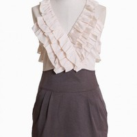debonair wear ruffle dress in mocha at ShopRuche.com, Vintage Inspired Clothing, Affordable Clothes, Eco friendly Fashion