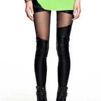 Chick&Stylish - Sexy Black Soft Faux Leather Irregular Skinny Leggings Pant