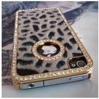 SODIAL- Luxury Designer Bling Crystal Leopard Cheetah Fur Hard Case Cover for Apple IPhone 4 4S