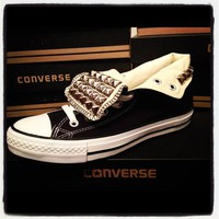 Black Silver Studded Converse from CorynnsTrends