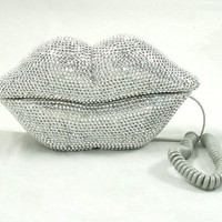 Cool Stuff - Hot Lips Phone - Silver Rhinestone