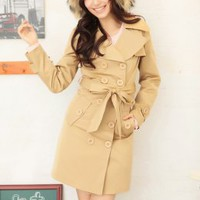 Polish Girls Double Breasted Khaki Coats : Wholesaleclothing4u.com