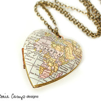 Africa Map Necklace, Vintage Heart Locket, Antique Map, Gift under 40, Large Heart, Brass