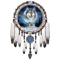 Dreams Of The Wild Wolf Art Native American-Style Dreamcatcher Wall Decor by The Bradford Exchange
