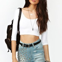 Scoop Crop Top - White