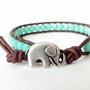 Hipster elephant bracelet in opaque turquoise on soft brown distressed leather, hipster bracelet for stacking &amp; layering, boho style