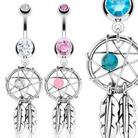 Stainless Steel Dream Catcher Woven Star Design with Bead and Feathers Fancy Belly Ring; Comes With