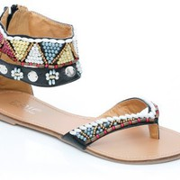 Unze Women Multi Beaded Flat Gladiator Summer, Party, Evening Thong Open-Toe Sandals - 8y2052-2