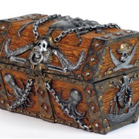 Pirate Octopus Chest Skull Jewelry Box Statue Figurine Keepsake