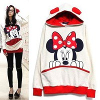 L625 Women Girl Bow Mickey Minnie Teddy Panda Bunny Bear Hoody Shirt Sweater M L