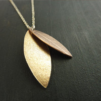 SALE Gold and Copper Leaf Necklace by someplaceelsewhere on Etsy
