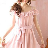 Yoco Fashion Pure Pink Off Shoulder Girls Dresses : Yoco-fashion.com