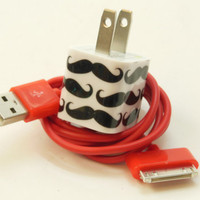 IPhone Charger Embellished with Mustaches- Fun USB Colors (Wall Adapter for Apple iPhone  3G 3GS 4 4G 4S, Adapter works with iPhone 5)