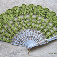GREEN hand fan crochet lace for Bride and Bridesmaids by kroowka