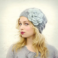 Gray Slouchy Hat with Mint Green Flower - READY TO SHIP