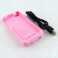 1900mAh External backup Battery Charger Case cover Guard for iPhone 4S 4 -Pink