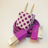 Apple IPhone Charger Purple Spots- Colored USB Cables (Wall AC Charger Adapter for iPhone 2g 3g 3gs 4 4g 4gs Adapter works with iPhone 5)