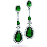 Amazon.com: Bling Jewelry CZ Emerald Color Teardrop Deco Chandelier Earrings Pave Setting: Jewelry