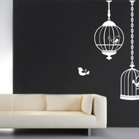 Cutie Birds Cages wall stickers : Dezign With a Z, Reusable wall decals