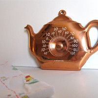 Vintage Teapot Copper Thermometer Wallhanging by ToucheVintage