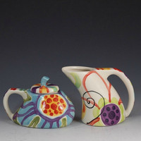 Cream and Sugar Set Jubilation Funky Cream &amp; by romyandclare