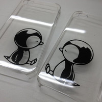 iPhone 5 Clear Case with Penguin Couple by StudioSevenCindy