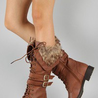 Nut-6 Buckle Lace Up Military Knee High Boot