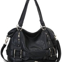 Amazon.com: Black Weave Pattern Belt Accent Double Handle Top Closure Soft Hobo Bowler Satchel Office Tote Shoulder Bag Handbag Purse: Clothing