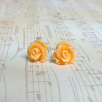 Peach Sunburst Flower Post Earrings